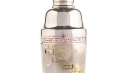 """A 1930'S SILVER-PLATED """"RECIPE"""" COCKTAIL SHAKER, with"""