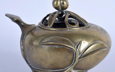 A 19TH CENTURY CHINESE POLISHED BRONZE CENSER AND COVER
