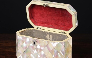 A 19th Century Caddy Box of bevelled rectangular form clad in diamond tiles of mother-of-pearl with
