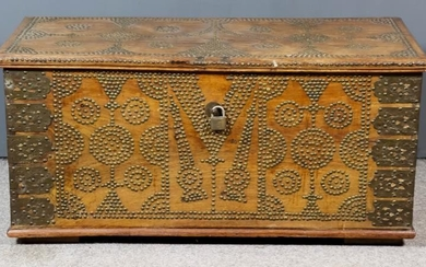 A 19th Century Indian Teak Metal Bound and Brass...