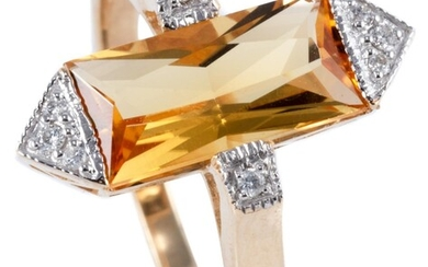 A 9CT GOLD DECO STYLE CITRINE AND DIAMOND RING; centring a rectangular cut citrine to shoulders and pyramidal ends set with round br...