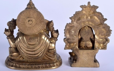 A BRASS STATUE IN THE GFORM OF GANESHA, together with