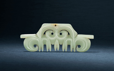 A CELADON JADE TOOTHED ANIMAL MASK ORNAMENT, HONGSHAN CULTURE, CIRCA 4000-3000 BC