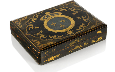 A CHINESE EXPORT LACQUER GAMES BOX, CIRCA 1740