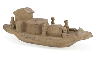 A CHINESE TERRACOTTA SCULPTURE REPRESENTING A SHIP WITH ATTENDENTS. 20TH CENTURY.