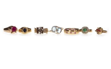 A COLLECTION OF GEM SET RINGS