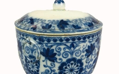 A Chinese Blue and White Pot with Lip decorated with