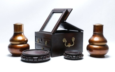 A Chinese Dresser Box with Fitted Mirror Together with Rosewood Vase Stands and A Pair of Tea Canisters