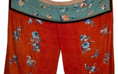 A Chinese embroidered bed hanging, 19th Century, decorated blue...