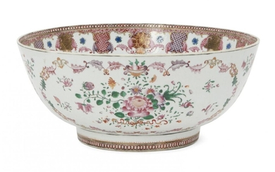 A Chinese export porcelain punch bowl, 18th century, painted in...