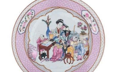 A Chinese famille rose Yongzheng-style export porcelain dish with a...