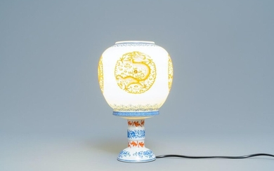 A Chinese iron red and overglaze blue eggshell porcelain 'dragon' lantern, Republic