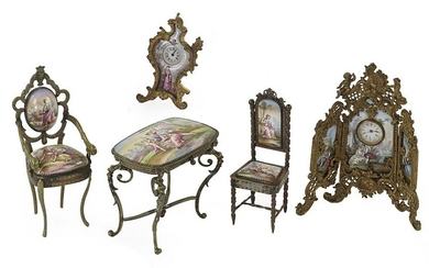 A Collection of Austrian Enameled Miniature Items.