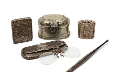 A Collection of Five Antique Silver Accessories and