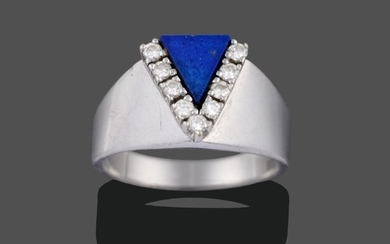 A Contemporary Lapis Lazuli and Diamond Ring, a triangular panel...