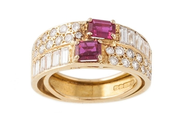 A DIAMOND AND RUBY DRESS RING, mounted in 18ct yellow gold. ...