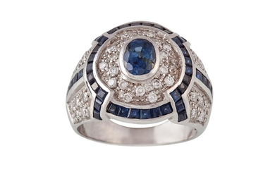 A DIAMOND AND SAPPHIRE CLUSTER RING, pavé set, diamonds shou...