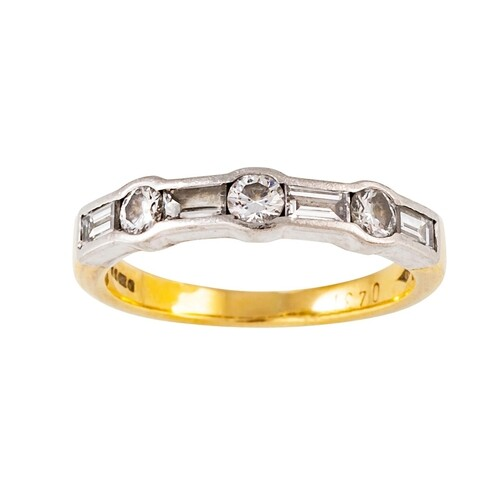 A DIAMOND HALF ETERNITY RING, set with brilliant and baguett...