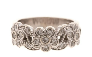 A Diamond Floral Scroll Band in 14K White Gold