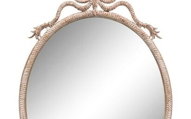 "A French Cerused Wood ""Rope"" Mirror Height 44 x width"