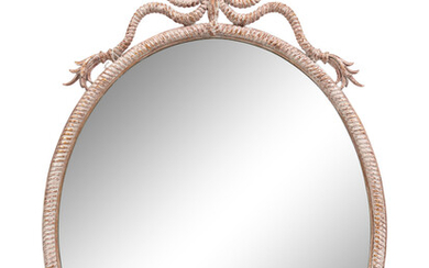 """A French Cerused Wood """"Rope"""" Mirror"""