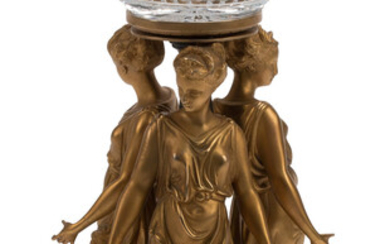 A French Gilt Bronze and Cut-Glass Figural Compote (19th century)