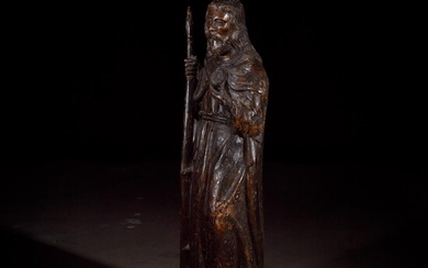A French late Gothic carved walnut figure of Saint...
