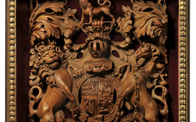 A GEORGE III PEARWOOD CARVING OF THE ROYAL HANOVERIAN COAT-OF-ARMS, LATE 18TH CENTURY, ATTRIBUTED TO THOMAS AND GEORGE SEDDON