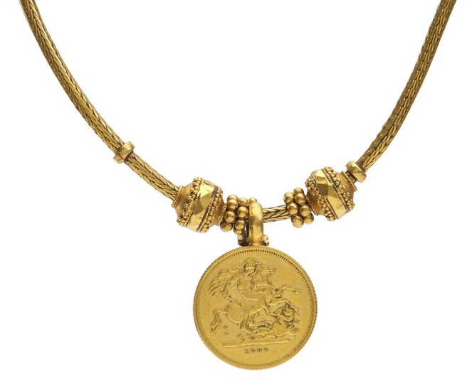 A GOLD COIN NECKLACE