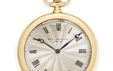 A GOLD KEYLESS POCKET WATCH, BY R. & S. GARRARD, LONDON