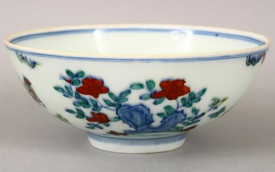 A GOOD CHINESE DOUCAI PORCELAIN BOWL, the body of the