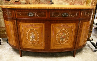 A GOOD HEPPLEWHITE REVIVAL SATINWOOD, MAHOGANY AND
