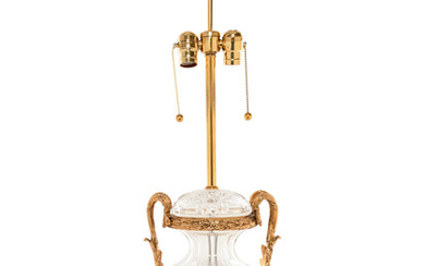 A Gilt Metal and Cut Glass Urn Mounted as a Lamp