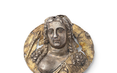 A Greek parcel gilt silver emblema in the form of a bust of Isis