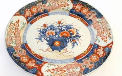 A Japanese Imari style plate, the centre decorated with
