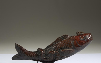 A Japanese carved and lacquered wood fish Edo/Meiji period...