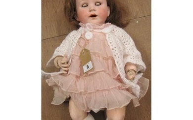 A Jutta bisque socket head crying doll, with blue glass slee...