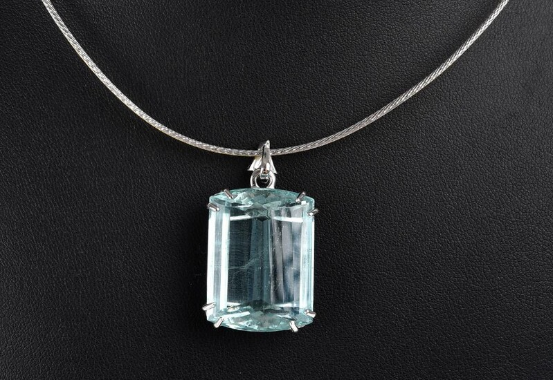 A LARGE AQUAMARINE PENDANT NECKLACE IN TWO TONE 18CT WHITE GOLD, THE RECTANGULAR CUT AQUAMARINE WEIGHING 37.75CTS, TO A DIAMOND SET...