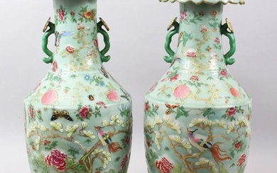A LARGE PAIR OF 19TH CENTURY CHINESE CELADON CANTON