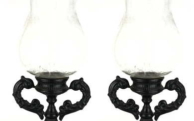 A LARGE PAIR OF 19TH CENTURY DESIGN STORM LANTERNS With clea...