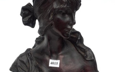 A LARGE VICTORIAN CAST IRON BUST OF A MAIDEN 'CENDRILION' H.38CM