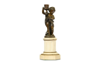 A LATE 19TH CENTURY FRENCH BRONZE AND WHITE MARBLE FIGURAL CANDLESTICK