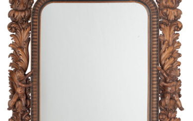 A Large Italian Rococo-Style Carved Wood Figural Mirror (19th century)