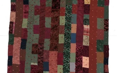 A Late 19th/Early 20th Century Tufted Country Thrift Quilt, incorporating...