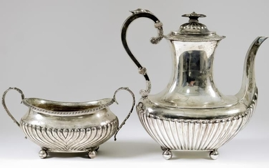 A Late Victorian Silver Rectangular Coffee Pot and A...