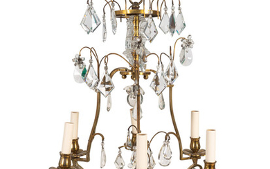 A Louis XV Style Gilt-Metal and Glass Six-Light Chandelier