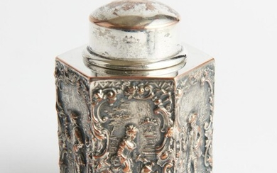 A MINIATURE 19TH CENTURY FRENCH SILVER ON COPPER HEXAGONAL TEA CADDY WITH RAISED SCENIC DETAIL - SIGNED TO BASE, H.8CM, LEONARD JOEL...