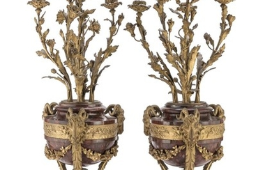 A PAIR OF CANDELABRA IN RED MARBLE AND BRONZE - 19TH CENTURY
