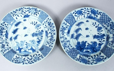 A PAIR OF CHINESE 18TH CENTURY BLUE & WHITE PORCELAIN