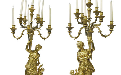 A PAIR OF FRENCH ORMOLU AND WHITE MARBLE EIGHT-LIGHT FIGURAL CANDLEABRA, LATE 19TH CENTURY, OF LOUIS XVI STYLE